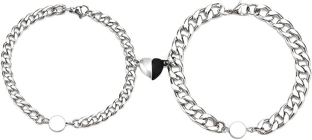 TikTok Magnetic Couple Bracelets Set Heart Magnetic Bracelets For Couples Stainless Steel Couple Bracelets Cuban Chain Bracelets Couple Friend Gifts for Her And Him