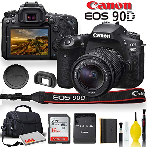 Canon EOS 90D DSLR Camera with 18-55mm Lens, Padded Case, Memory Card, and More - Starter Bundle Set (International Model)