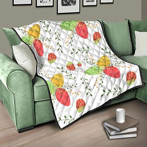 AXGM Colcha con diseño de huevos de Pascua con ramas, suave y cálida, 230 x 280 cm, color blanco