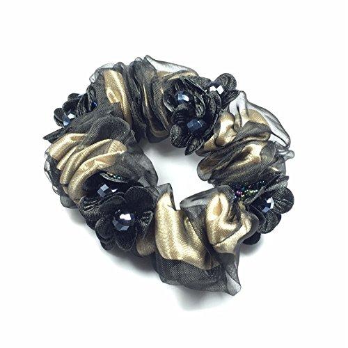Fashion Jewery Haarschmuck haarbrosche Blumenbrosche Kopfschmuck Accessoires Haarband Haarblumen Haarblüte glitzernde Blumen Knotenringe (dunkel braun)