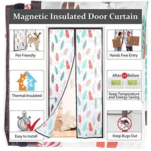 """Magnetic Insulated Door Curtain,Self-Closing Privacy Door Screen,36pcs Magnets,Thermal Doorway Cover to Block Draft Out in Winter,Keep Cool in Summer for Patio, Kitchen,Bedroom,39""""x83"""",Colorful"""