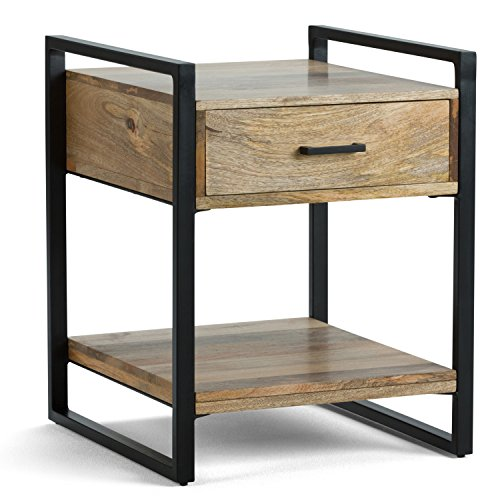 Simpli Home Riverside SOLID MANGO WOOD and Metal 20 inch Wide Rectangle Modern Industrial End Side Table in Natural