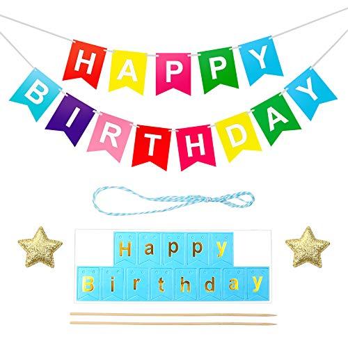 XINDA 2 unidades de decoración para tartas de cumpleaños arcoíris multicolor con texto en alemán 'Alles Gute zum Geburtstagstation'