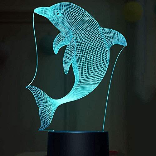 Lámpara de ilusión LED 3D Dolphin USB Lámpara de mesa para dormitorio de niños Decoración de fiesta en casa para dormir-16 color remote control