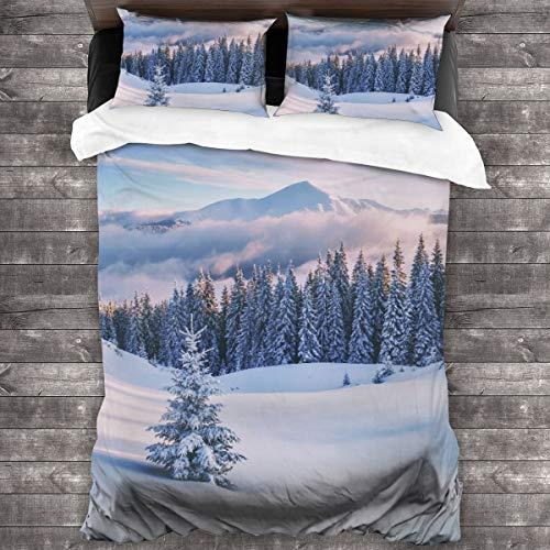 AIMILUX Funda Edredón,Árboles de Nieve en montañas de Invierno con Tonos como...