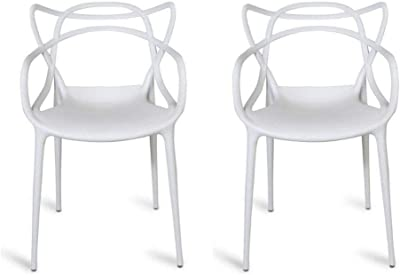 Hollow-Carved Design for Dining Living Room Bedroom HOMCOM Set of 2 Modern Plastic Dining Chairs w//Metal Legs Grey