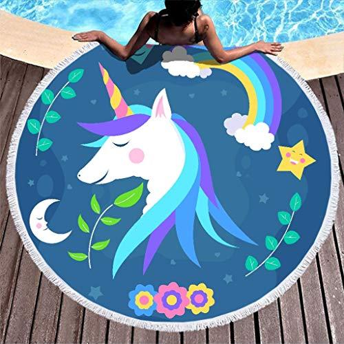 O3XEQ-8 - Toalla de playa redonda para la playa, secado rápido, para piscina, 59 pulgadas, poliéster, blanco, 150 cm