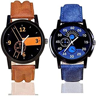 New Raiyaraj Embroidery Quartz Movement Analogue Multicolour Dial Leather Strap Color Blue-Brown Combo Watches for Boys