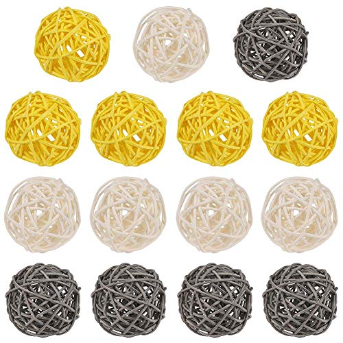 FANTESI 15 Pcs Wicker Rattan Balls, Multi Color Vase Filler Twig Ball Spheres for Wedding Christmas Party Hanging Decoration(Yellow)