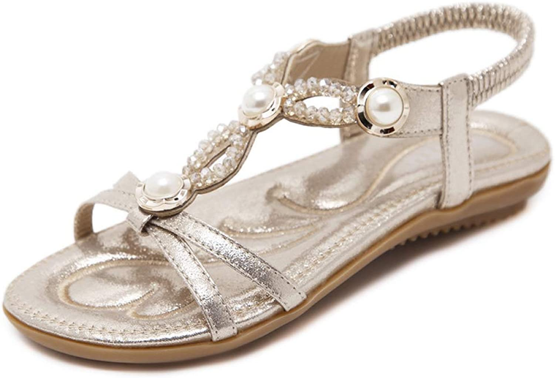 Hoxekle Woman Boho String Beads Pearl Beach Flip Flops Flats Platform Outdoor Casual Soft Sole Sandals