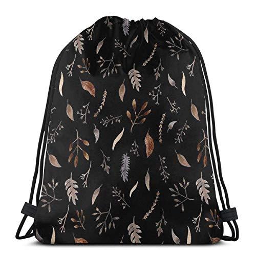 OPLKJ Rucksack Kordelzug Taschen Cinch Sack String Bag verwelkte Pflanze Sackpack für Beach Sport Gym Reisen Yoga Camping Shopping Schule Wandern Männer Frauen
