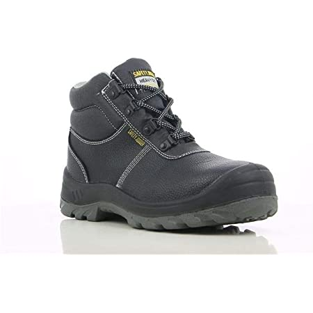 Safety Jogger Safety Boot - Steel Toe Cap S3/S1P Work Shoe for Men or Women, Anti Slip Puncture Resistant Steel Sole, Shock Absorbing, Water and Oil Repellant, UK 10,5 EU 45, Bestboy, Black Leather