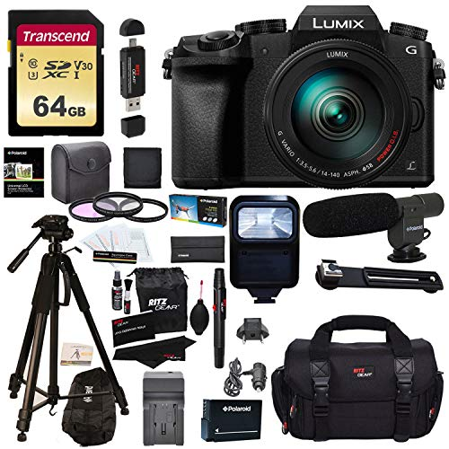 "Panasonic DMC-G7HK Digital Single Lens Mirrorless Camera 14-140 mm Lens Kit, 4K + Accessory Bundle + 2 Transcend 64 GB High Speed 10 UHS-3 + LED Kit + Polaroid 72"" Tripod + Monopod + Microphone + More"