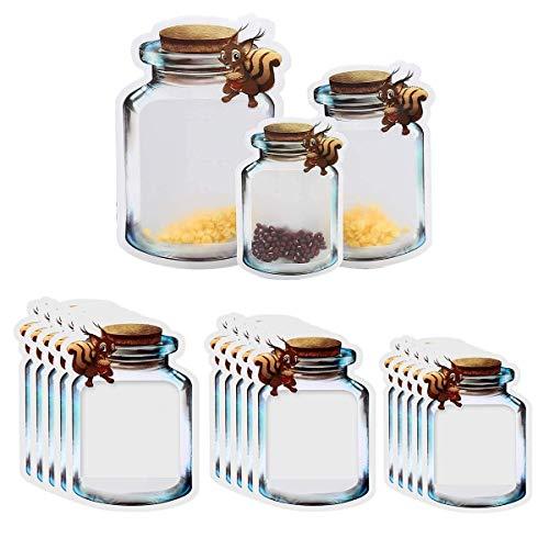 Liwein Bolsa de Botella Mason, 30 Piezas Bolsas de Tarro de Masón Reutilizables Bolsas de Almacenamiento de Alimentos Hermética Plástico Bolsas de Ahorro de Alimentos (Ardilla)