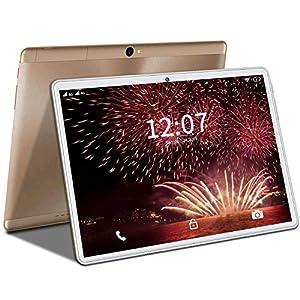 4G LTE Tablet 10 Pulgadas, Tableta Android 9.0, Quad-Core, Dual SIM - 4GB RAM + 64GB ROM |5.0+8.0 MP |WI-FI |Escalable 128GB |Bluetooth |Type-C |8000mAh Batería|GPS Tablet PC Oro