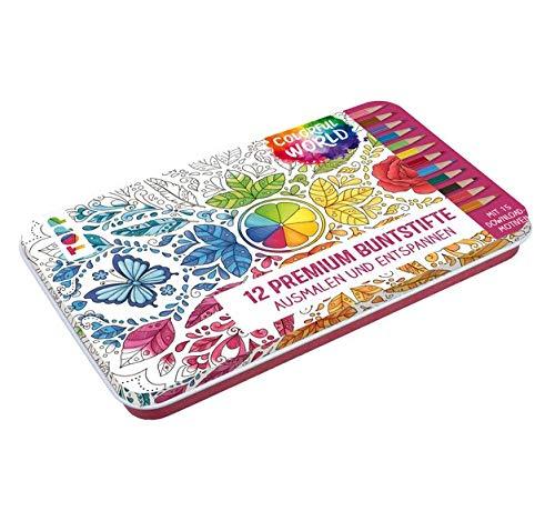 Colorful World Designdose mit 12 Premium-Buntstiften: 12 Premium Buntstifte mit weichen Minen und 15 Ausmalbildern zum Download in Designdose (14,6 x 21,8 x 1,5 cm)