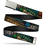 Buckle-Down unisex-adult's Web Belt Harry Potter, Hogwarts House Banners & Logos, 1.25' Wide-Fits up to 42' Pant Size