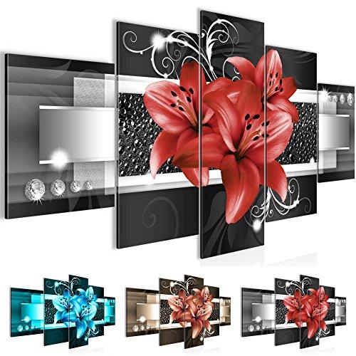 Bilder Blumen Lilien Wandbild Vlies - Leinwand Bild XXL Format Wandbilder Wohnung Deko Kunstdrucke - MADE IN GERMANY - Fertig zum Aufhängen 008653c