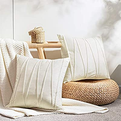 Top Finel Cream Decorative Throw Pillow Covers 24 x 24 Inch Soft Velvet Solid Striped Cushion Covers for Couch Sofa Bed 60 x 60 cm, Pack of 2, Off White
