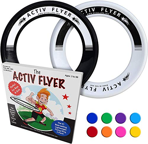 Activ Life Frisbee Rings [Black/White] Fun Toys for 8 Year Old Boys & 7 Year Old Boy Gifts for Son, Grandson, Brother, Nephew or Friend Birthday Present