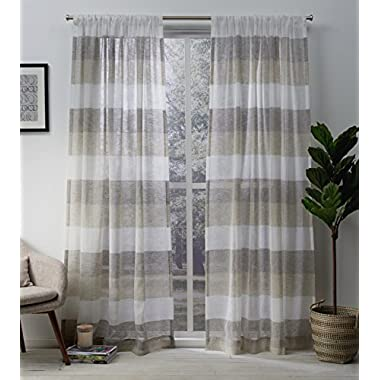 Exclusive Home Bern Stripe Sheer Window Curtain Panel Pair with Rod Pocket 50x96 Natural 2 Piece