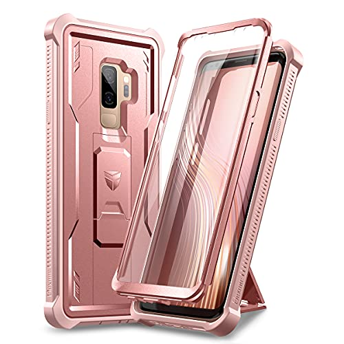 Dexnor for Samsung Galaxy S9+ Plus Case, [Built in Screen Protector and Kickstand] Heavy Military Grade Protection Shockproof Protective Cover for Samsung Galaxy S9 Plus Rose Gold