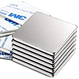 DIYMAG Powerful Neodymium Square Magnets, Strong Permanent Rare Earth Magnets for Fridge, DIY, Building, Science, Craft, and Office, 1.26 inch x 1.26 inch x 1/8 inch, Pack of 6