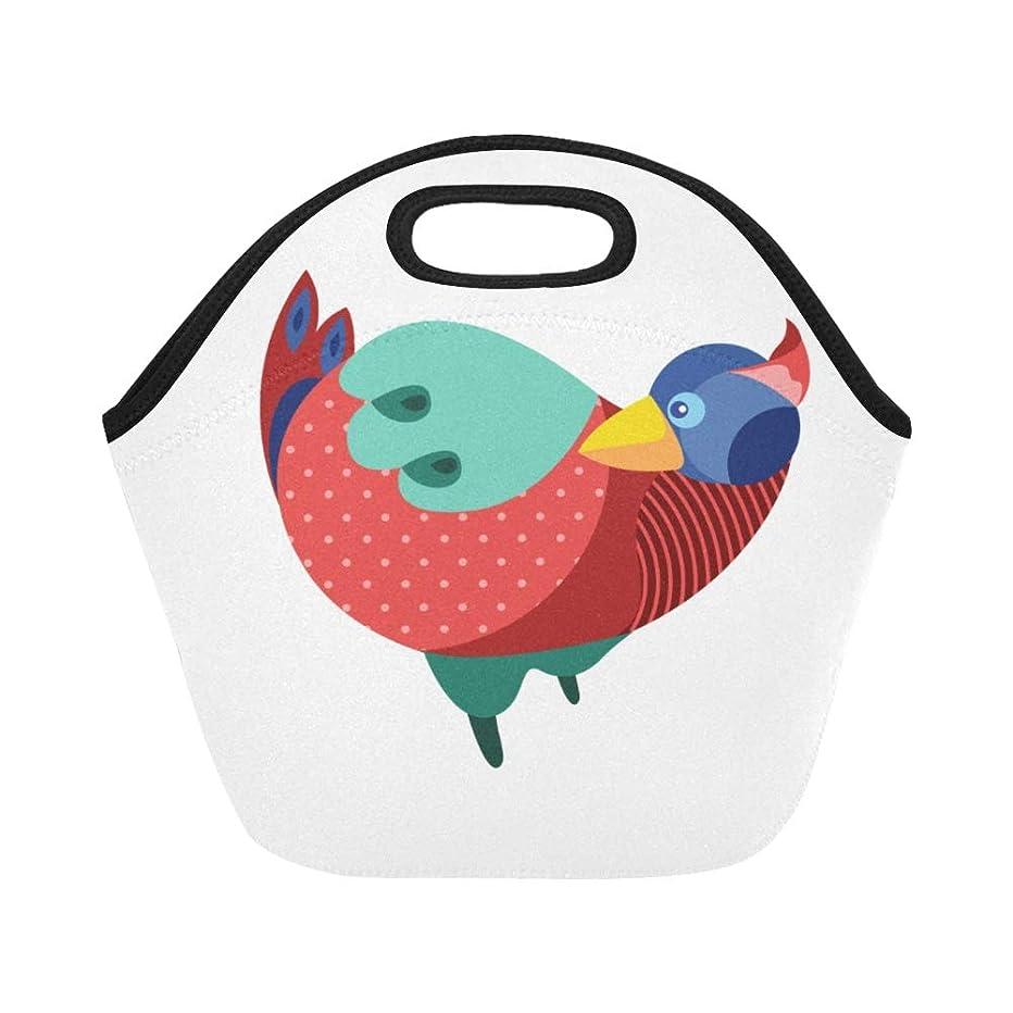 入る味仲間、同僚CWSGH ランチバッグ 白い地色 カラフル鳥 弁当袋 お弁当入れ 保温保冷 トート 弁当バッグ 大容量 トートバッグ
