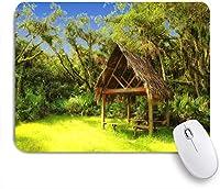 ECOMAOMI 可愛いマウスパッド 夢のようなファンタジーの森のティキ小屋熱帯の島の野生生物の緑の芸術 滑り止めゴムバッキングマウスパッドノートブックコンピュータマウスマット
