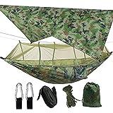 SNOWINSPRING Acampada Hamaca para 2 Personas con Mosquitera Hamaca PortáTil Ligera y Resistente al Agua para Practicar Senderismo Patio de Viaje al Aire Libre