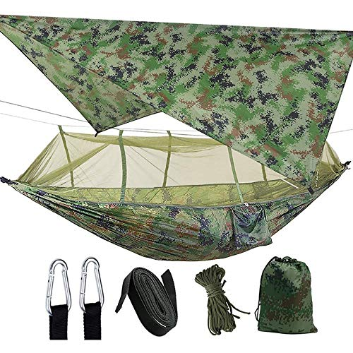 SNOWINSPRING Camping 2 Person Hammock with Net Waterproof Lightweight Portable Gammock for Hiking Outdoor Travel Backyard