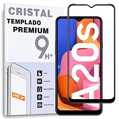 REY Protector de Pantalla Curvo para Samsung Galaxy A20S, Negro, Cristal Vidrio Templado Premium, 3D / 4D / 5D, Anti Roturas