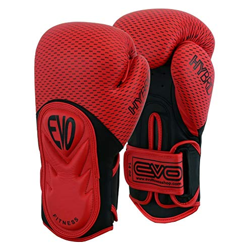 EVO Fitness Boxing Gloves Men Punch Bag Women MMA Muay Thai Martial Arts Kick Boxing Sparring Training Fighting UFC Adults Gloves With Hand Wraps (Red, 16 OZ)