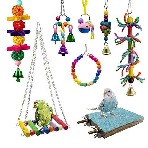 Bebester Bird Chewing Toys, 8Pieces Bird Parrot Toys Bird Hanging Bell Toy...