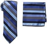 Stacy Adams Men's Microfiber Stripped Tie Set, Navy, One Size