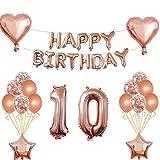 Oumezon Decoración de cumpleaños para niña, color oro rosa, para 10 cumpleaños, guirnalda de feliz cumpleaños, globos