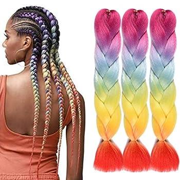 Ombre Braiding Crochet Hair Extensions Rainbow Color Synthetic Jumbo Box Braids 7 Tone Crochet Braids Hair Bundles 3Pcs/lot 24inch Rainbow Color