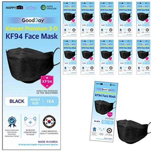 (Pack of 10) Good Day Korea Black Disposable KF94 Face Masks 4-Layer Filters Breathable Comfortable Protection, Protective Nose Mouth Covering Dust Mask Made in Korea.