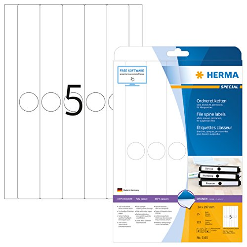 HERMA 5165 Hängeordner-Etiketten DIN A4 blickdicht, schmal/lang (34 x 297 mm, 25 Blatt, Papier, matt) selbstklebend, bedruckbar, permanent haftende Ordneretiketten, 125 Rückenschilder, weiß