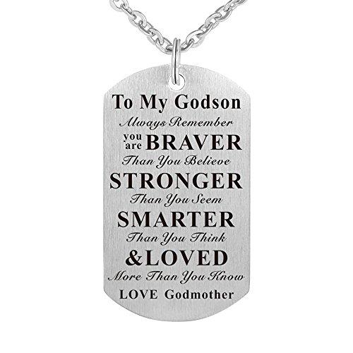 Godson Gift Jewelry Keychain Pendant Necklace from Godmother, Birthday Christening Baptism Gift (Gift for Godson from Godmother)