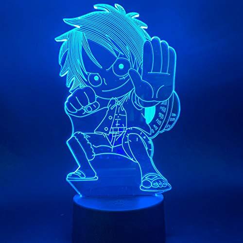 Anime Luffy 3D-Tischlampe, mehrfarbig, LED-Nachtlicht, USB-Acryl-Dekoration, Kinderzimmer, Schlafgeschenk