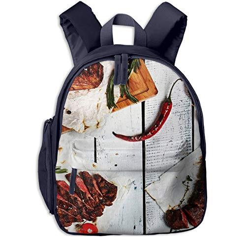 Kinderrucksack Kleinkind Jungen Mädchen Kindergartentasche Über Gourmet Grill Restaurant Steak Backpack Schultasche Rucksack