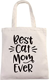 Chillake Best Cat Mom Ever Natural Cotton Canvas 12 Oz Reusable Hand Made Tote Bag - Cute Cat Mom Tote Bag Gifts for Cat L...