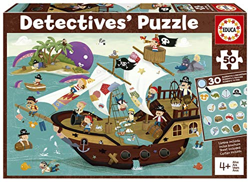 Detectives Piratas. Puzzle Infantil de 50 Piezas. Móntalo y Busca los Objetos escondidos. +4 años. Ref. 18896