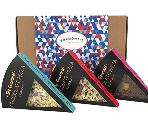 Gourmet Chocolate Pizza Slices Selection Gift Box - 3 Individual Slices - Hamper Exclusive To Burmonts