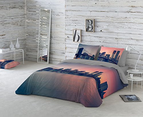 NATURALS Brooklyn Bridge Funda nórdica, Gris/Naranja, Cama 135 (220 x 220 cm + 45 x 150 cm)