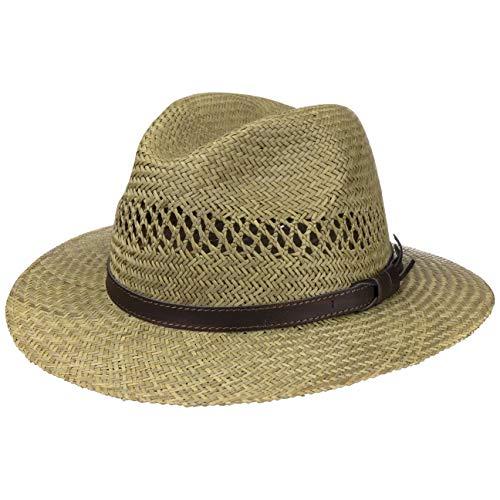 Lipodo Traveller Strohhut Damen/Herren - Made in Italy - Sommerhut aus Stroh - Sonnenhut mit braunem Lederband - Sommertraveller Größen S-XL Natur S (54-55 cm)