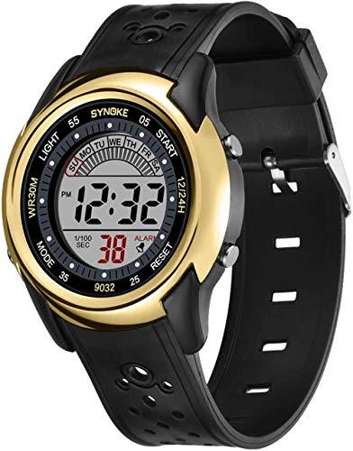 Reloj deportivo digital para estudiantes, reloj digital para hombre, luminoso, impermeable, sistema de 12/24 horas, correa de silicona, reloj para niños y niñas (negro), dorado