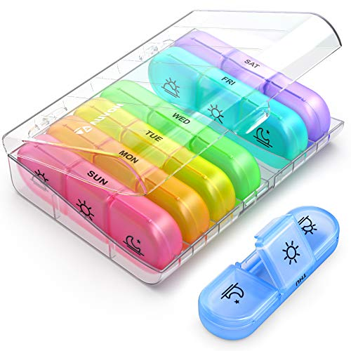 AUVON Weekly Pill Organizer, 3-Times-A-Day