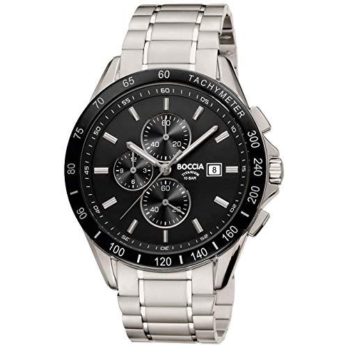 Boccia Herren Chronograph Quarz Uhr mit Titan Armband 3751-02